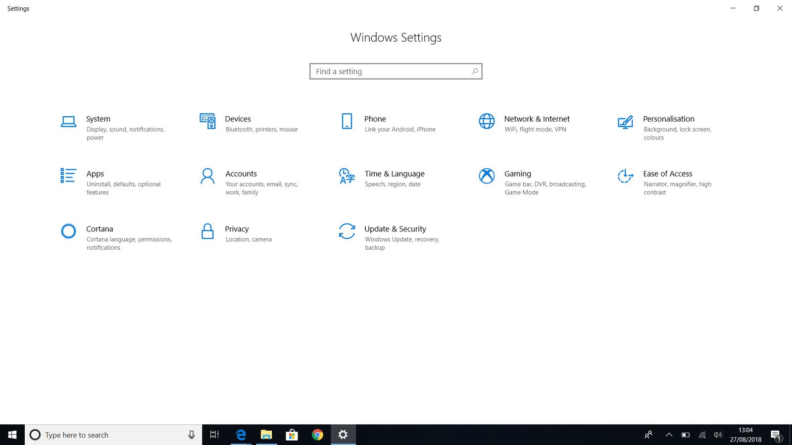 تنظیمات ویندوز 10